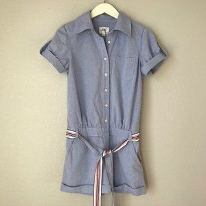 Milly of New York Oxford Shorts Jumpsuit Romper